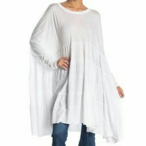 WE THE FREE White Oversized Tunic Top White M/L